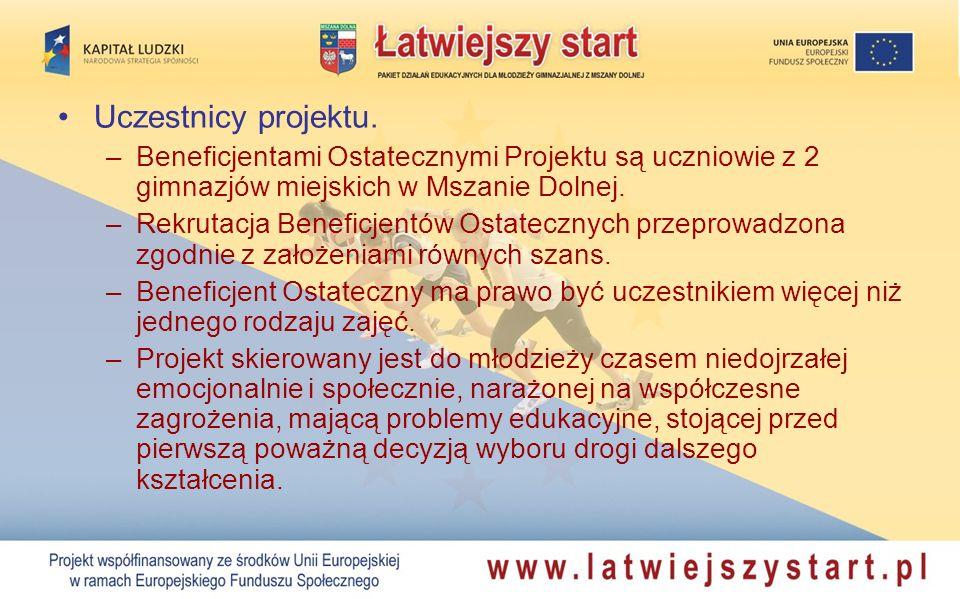 Uczestnicy projektu. Beneficjentami Ostatecznymi Projektu są uczniowie z 2 gimnazjów miejskich w Mszanie Dolnej.