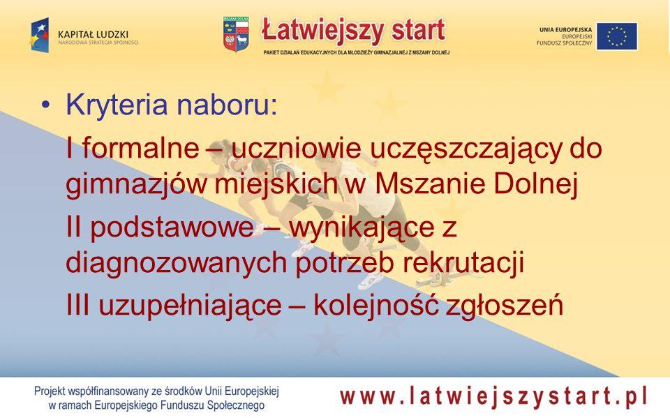 Kryteria naboru: I formalne – uczniowie uczęszczający do gimnazjów miejskich w Mszanie Dolnej.