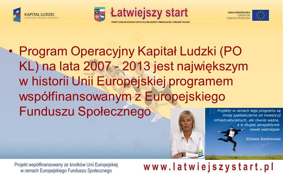 Program Operacyjny Kapitał Ludzki (PO KL) na lata 2007 - 2013 jest największym w historii Unii Europejskiej programem współfinansowanym z Europejskiego Funduszu Społecznego