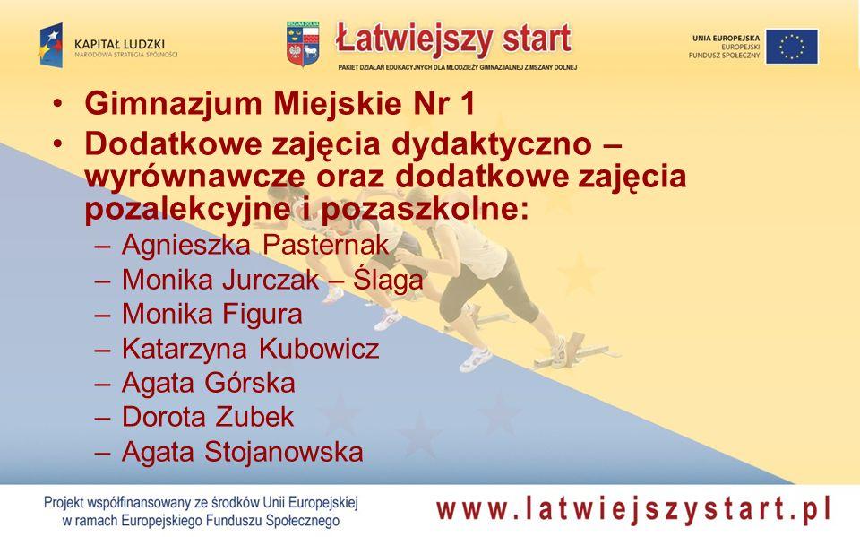 Gimnazjum Miejskie Nr 1 Dodatkowe zajęcia dydaktyczno – wyrównawcze oraz dodatkowe zajęcia pozalekcyjne i pozaszkolne: