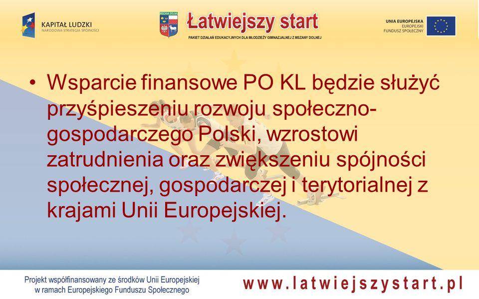 Wsparcie finansowe PO KL będzie służyć przyśpieszeniu rozwoju społeczno-gospodarczego Polski, wzrostowi zatrudnienia oraz zwiększeniu spójności społecznej, gospodarczej i terytorialnej z krajami Unii Europejskiej.