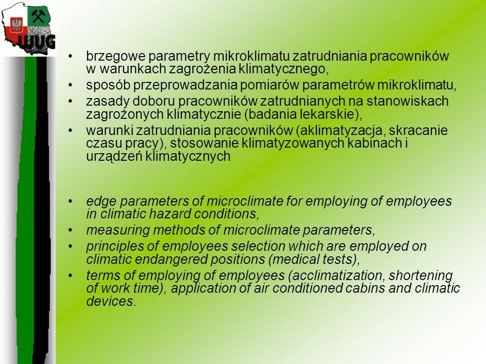 brzegowe parametry mikroklimatu zatrudniania pracowników w warunkach zagrożenia klimatycznego,