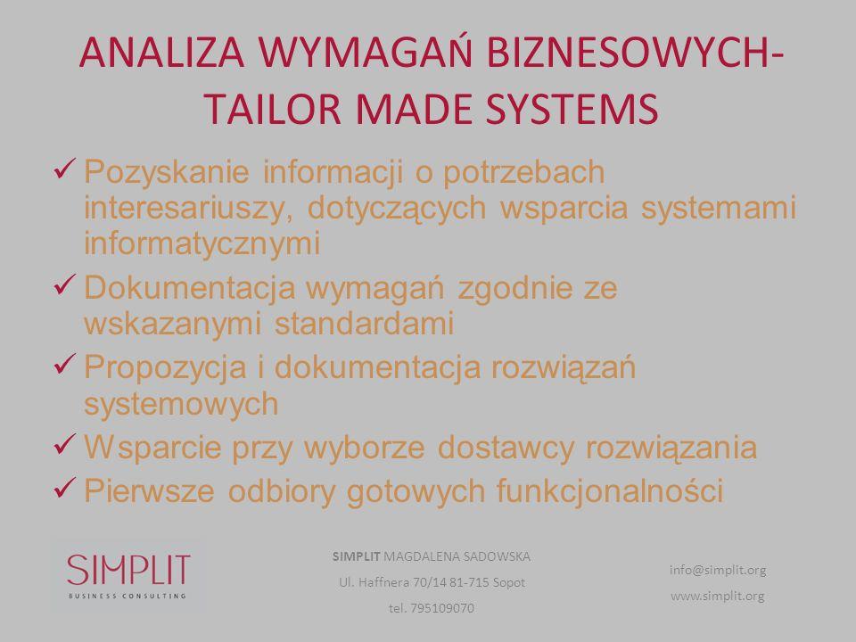 ANALIZA WYMAGAŃ BIZNESOWYCH- TAILOR MADE SYSTEMS