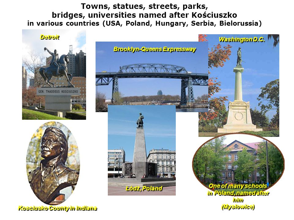 Towns, statues, streets, parks,