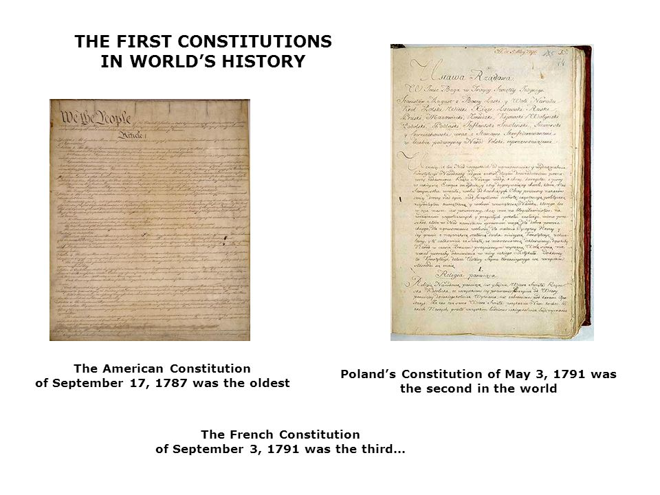 THE FIRST CONSTITUTIONS IN WORLD'S HISTORY