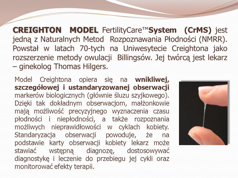 CREIGHTON MODEL FertilityCare™System (CrMS) jest jedną z Naturalnych Metod Rozpoznawania Płodności (NMRR). Powstał w latach 70-tych na Uniwesytecie Creightona jako rozszerzenie metody owulacji Billingsów. Jej twórcą jest lekarz – ginekolog Thomas Hilgers.