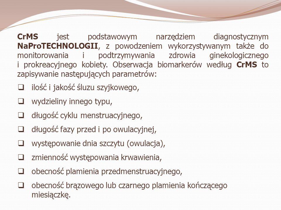 CrMS jest podstawowym narzędziem diagnostycznym NaProTECHNOLOGII, z powodzeniem wykorzystywanym także do monitorowania i podtrzymywania zdrowia ginekologicznego i prokreacyjnego kobiety. Obserwacja biomarkerów według CrMS to zapisywanie następujących parametrów: