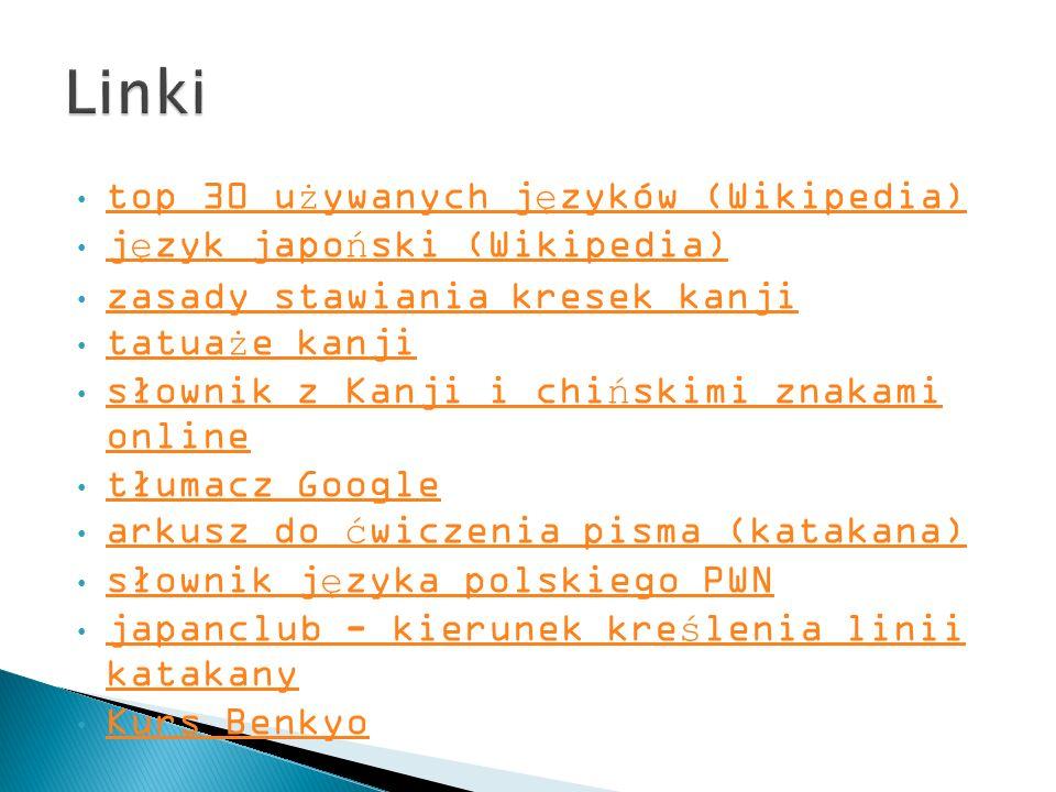 Linki top 30 używanych języków (Wikipedia) język japoński (Wikipedia)