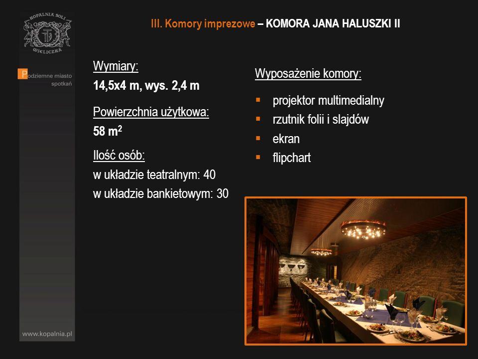 III. Komory imprezowe – KOMORA JANA HALUSZKI II