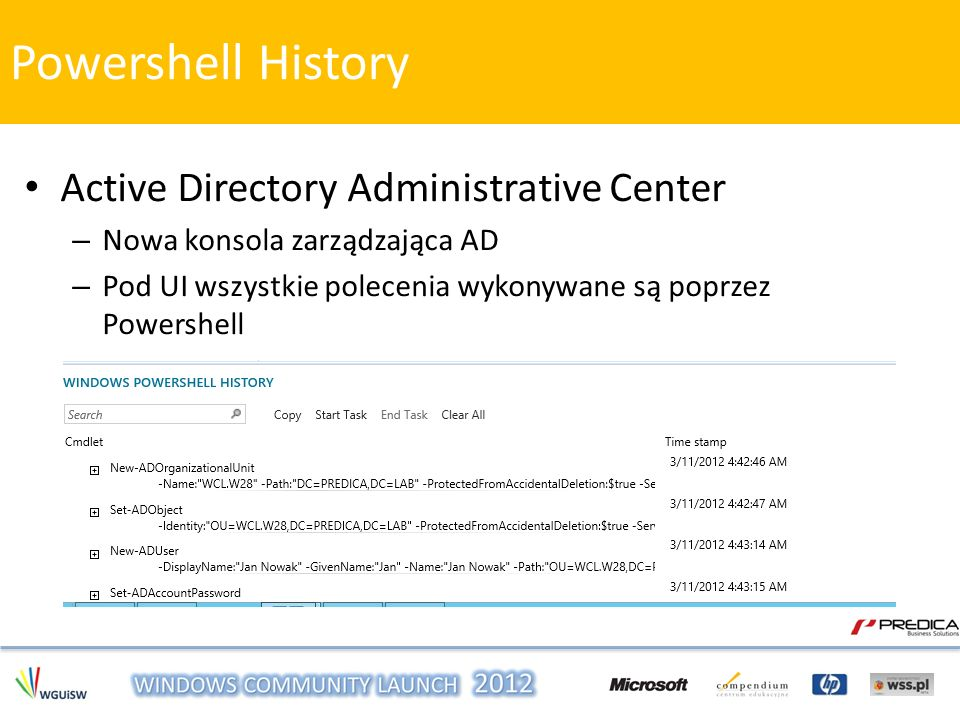 Powershell History Active Directory Administrative Center