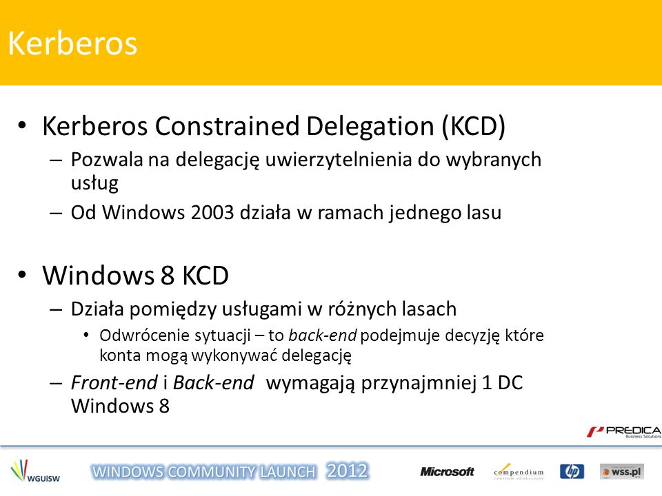 Kerberos Kerberos Constrained Delegation (KCD) Windows 8 KCD