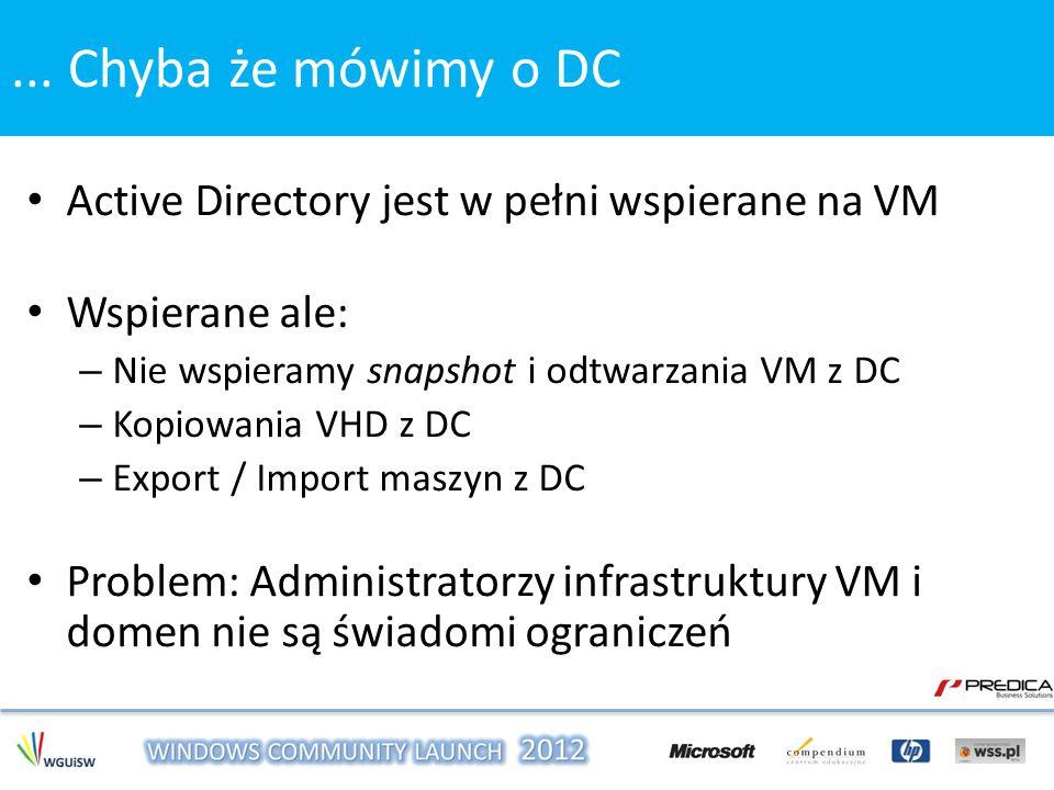 ... Chyba że mówimy o DC Active Directory jest w pełni wspierane na VM