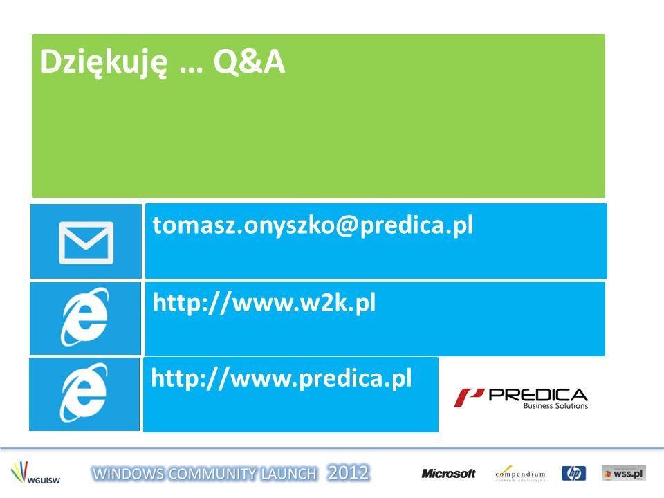 Dziękuję … Q&A tomasz.onyszko@predica.pl http://www.w2k.pl