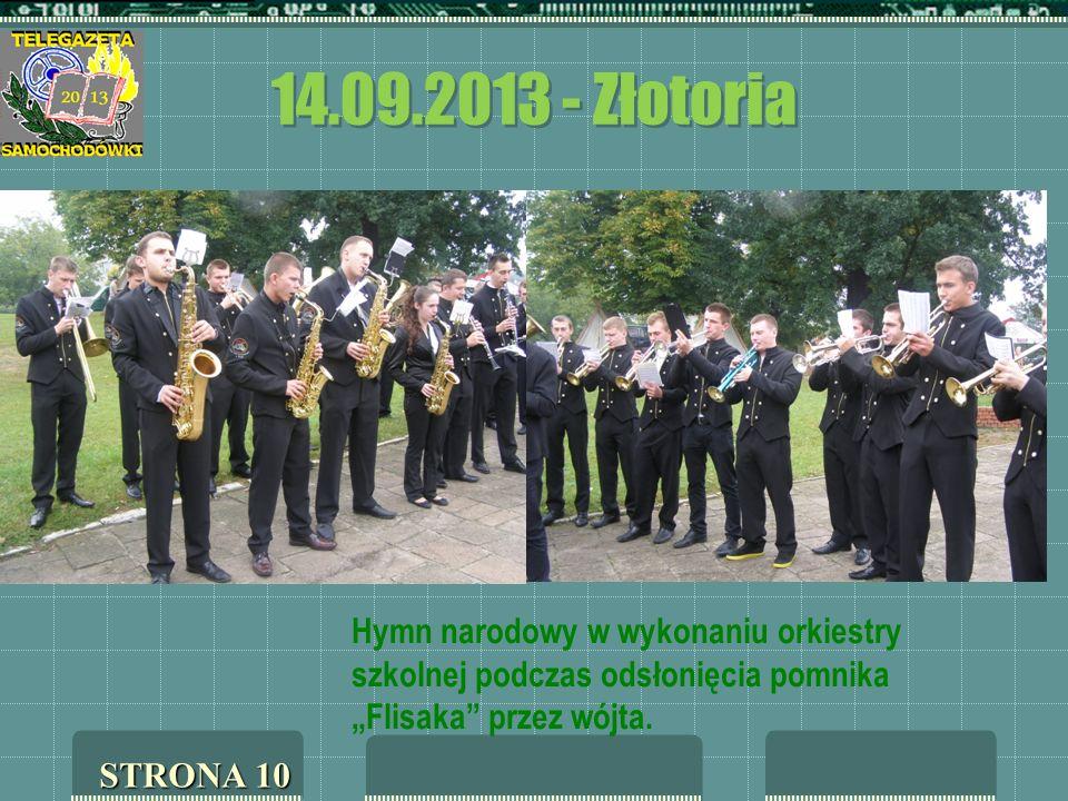 """14.09.2013 - Złotoria Hymn narodowy w wykonaniu orkiestry szkolnej podczas odsłonięcia pomnika """"Flisaka przez wójta."""