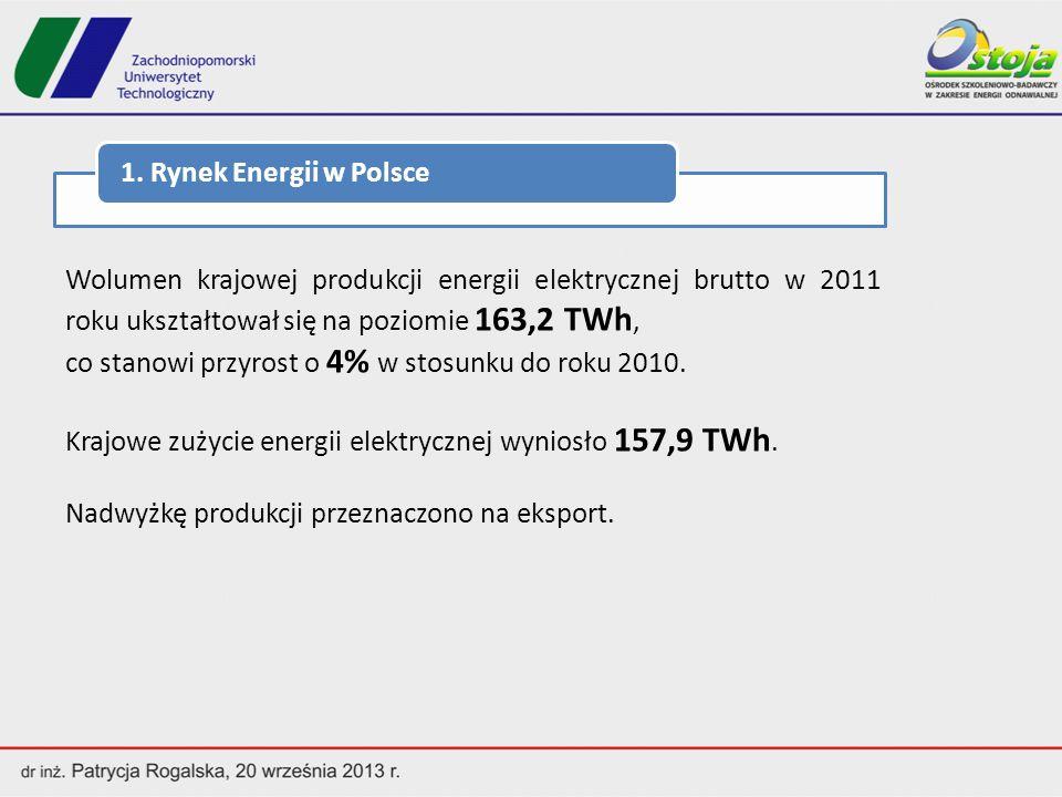 1. Rynek Energii w Polsce Wolumen krajowej produkcji energii elektrycznej brutto w 2011 roku ukształtował się na poziomie 163,2 TWh,