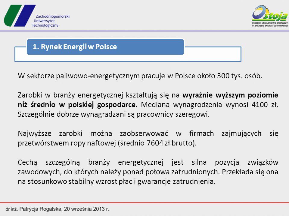 1. Rynek Energii w Polsce W sektorze paliwowo-energetycznym pracuje w Polsce około 300 tys. osób.