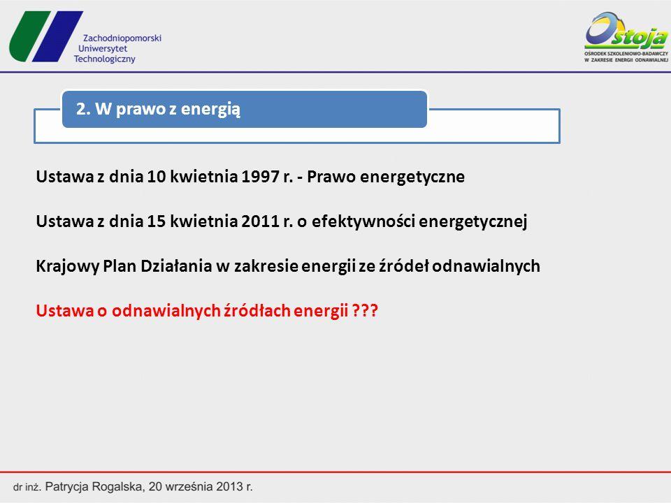 2. W prawo z energią Ustawa z dnia 10 kwietnia 1997 r. - Prawo energetyczne. Ustawa z dnia 15 kwietnia 2011 r. o efektywności energetycznej.