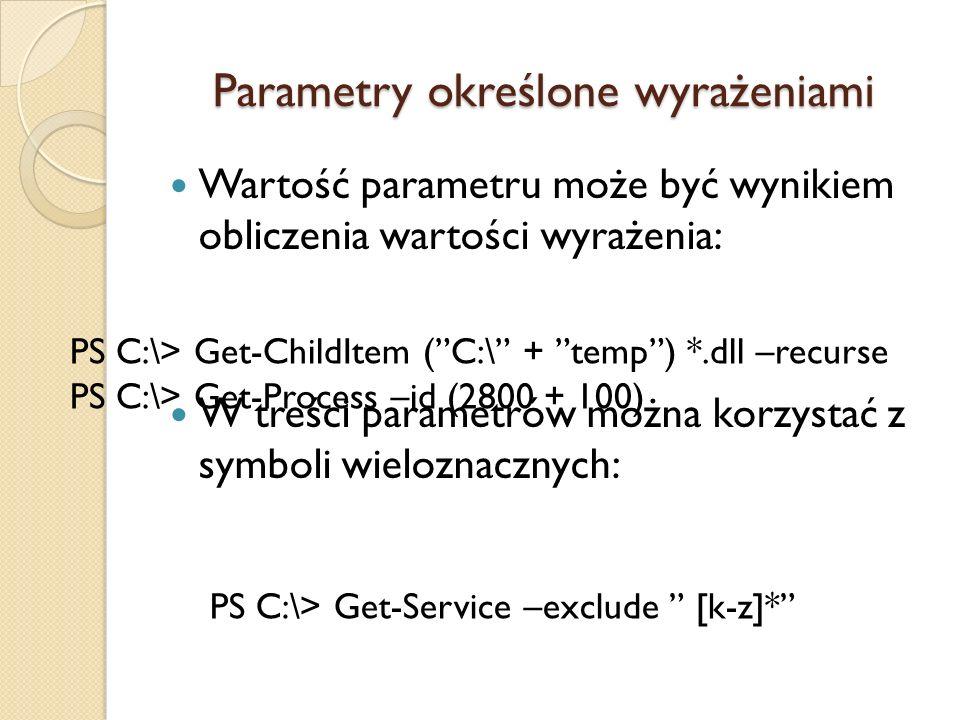 Parametry określone wyrażeniami