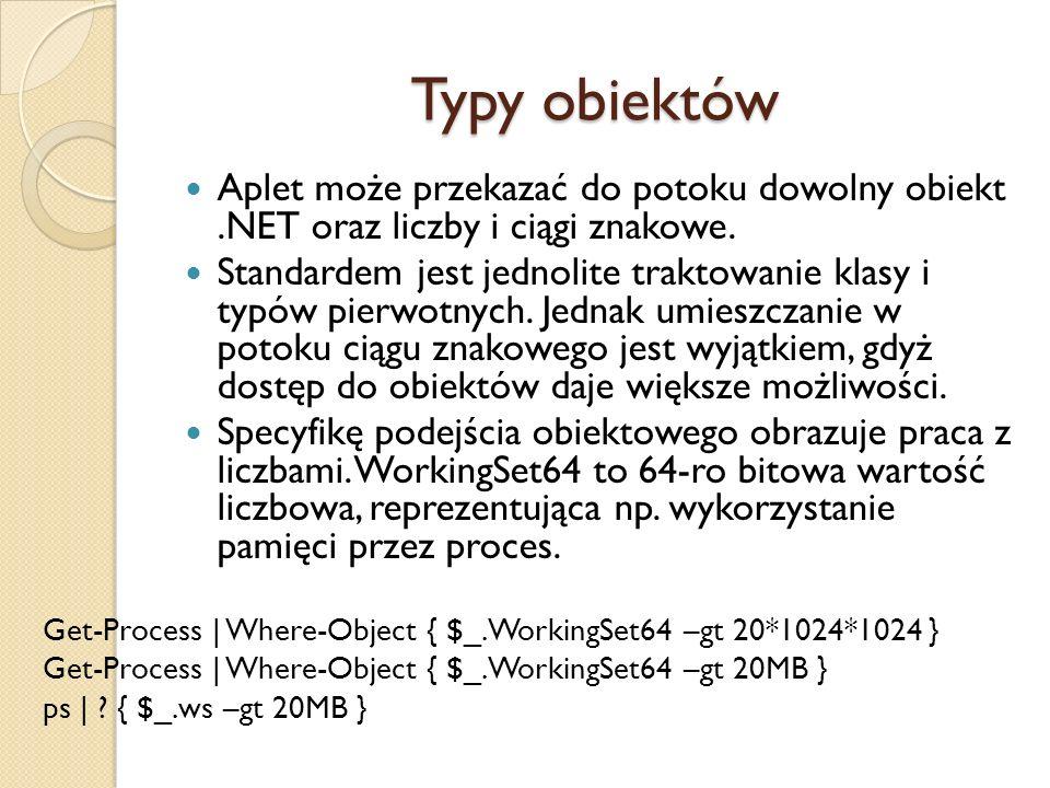 Typy obiektów Aplet może przekazać do potoku dowolny obiekt .NET oraz liczby i ciągi znakowe.