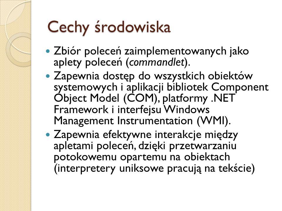Cechy środowiska Zbiór poleceń zaimplementowanych jako aplety poleceń (commandlet).