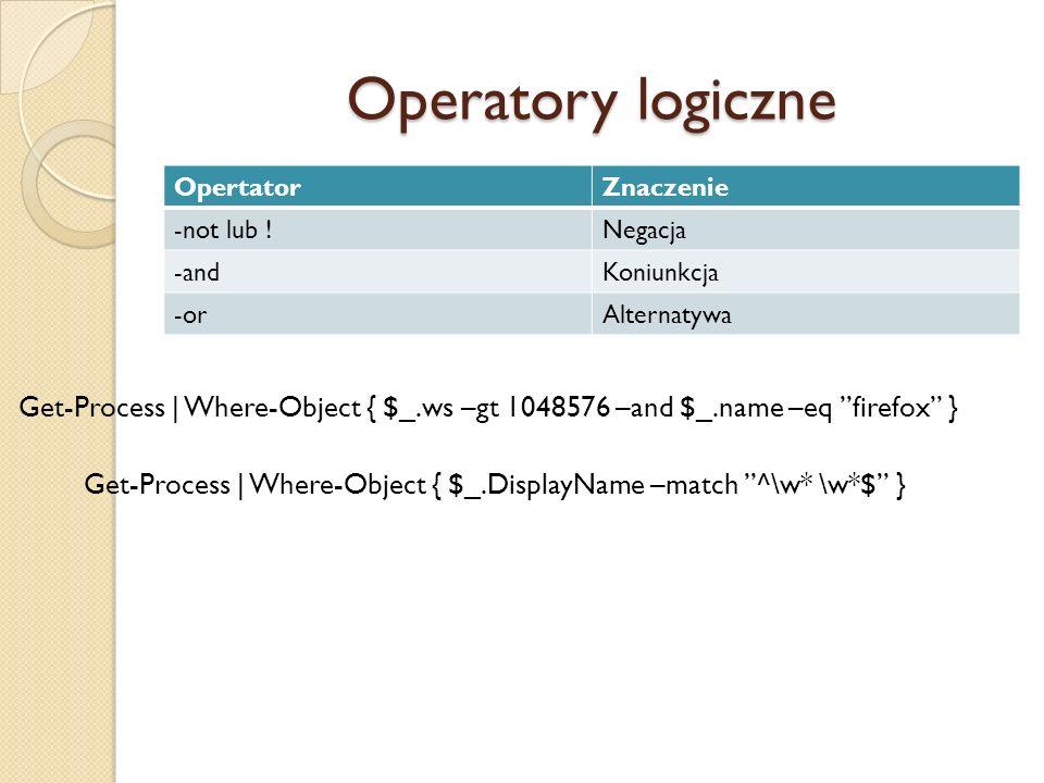 Operatory logiczne Opertator. Znaczenie. -not lub ! Negacja. -and. Koniunkcja. -or. Alternatywa.
