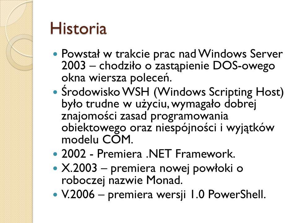 Historia Powstał w trakcie prac nad Windows Server 2003 – chodziło o zastąpienie DOS-owego okna wiersza poleceń.