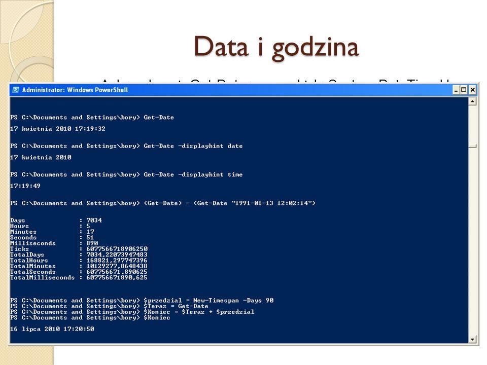 Data i godzina Aplet polecenia Get-Date tworzy obiekt System.DateTime klasy .NET, który zawiera bieżącą datę i godzinę.