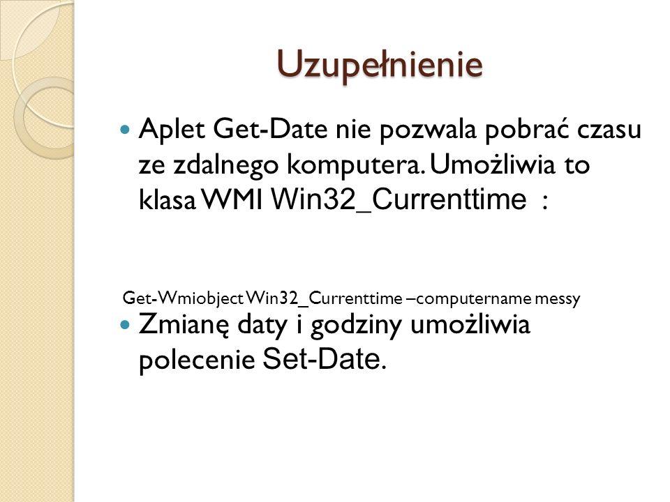 Uzupełnienie Aplet Get-Date nie pozwala pobrać czasu ze zdalnego komputera. Umożliwia to klasa WMI Win32_Currenttime :