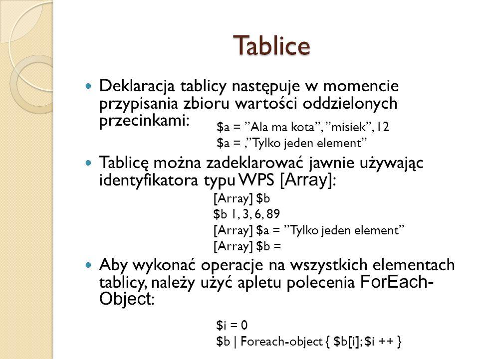 Tablice Deklaracja tablicy następuje w momencie przypisania zbioru wartości oddzielonych przecinkami: