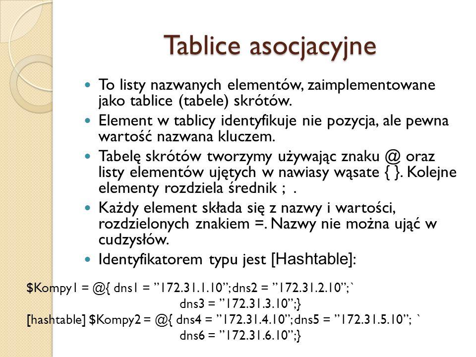 Tablice asocjacyjne To listy nazwanych elementów, zaimplementowane jako tablice (tabele) skrótów.