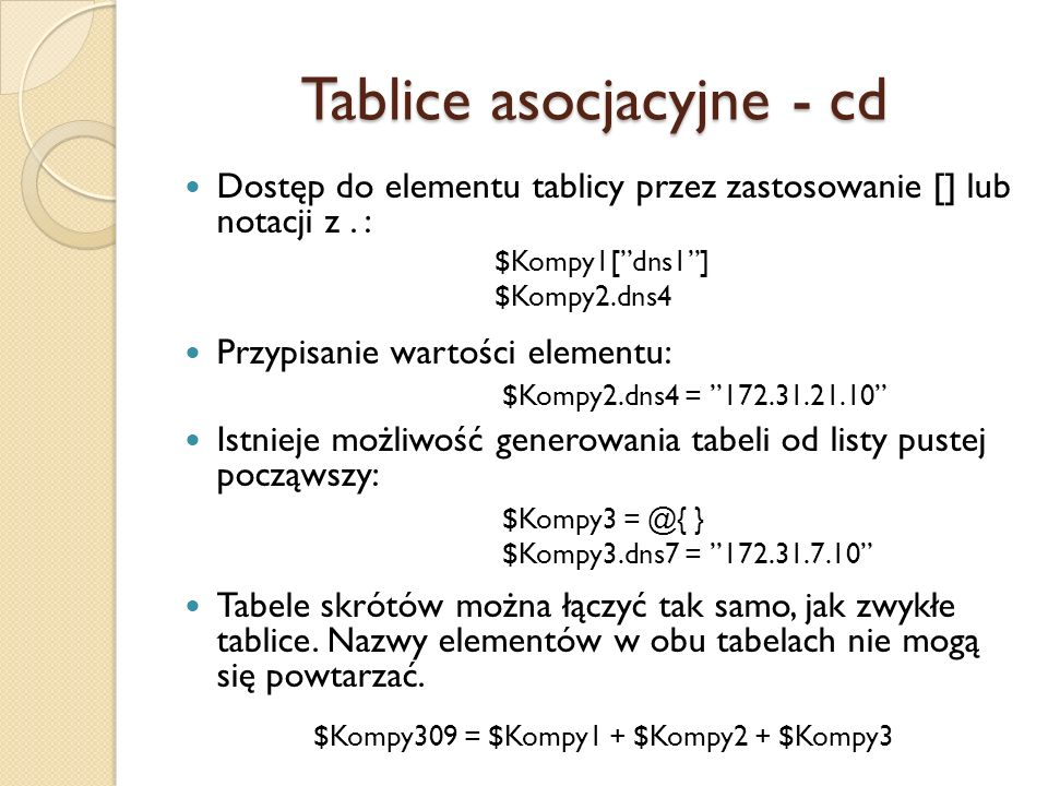 Tablice asocjacyjne - cd