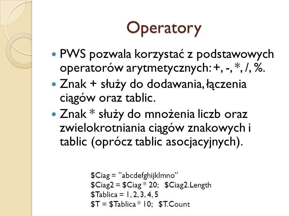 Operatory PWS pozwala korzystać z podstawowych operatorów arytmetycznych: +, -, *, /, %. Znak + służy do dodawania, łączenia ciągów oraz tablic.