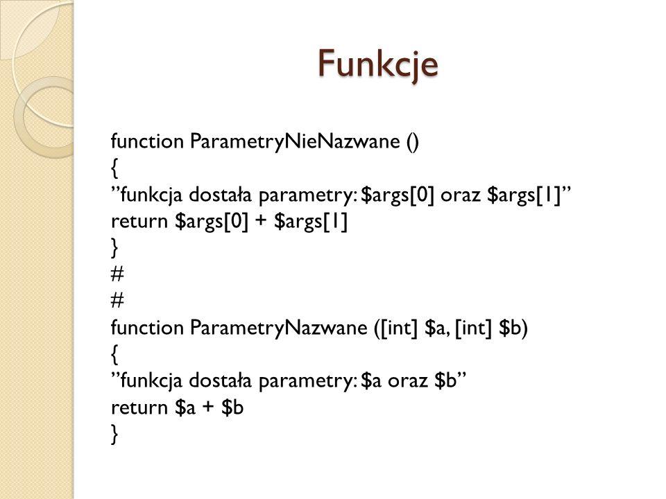 Funkcje function ParametryNieNazwane () {