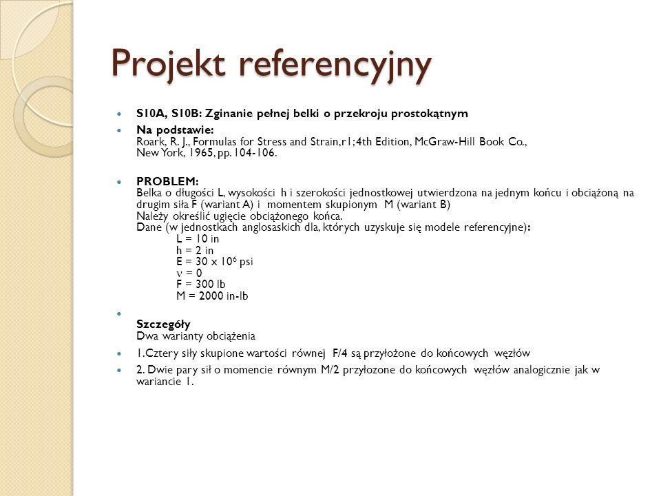 Projekt referencyjnyS10A, S10B: Zginanie pełnej belki o przekroju prostokątnym.