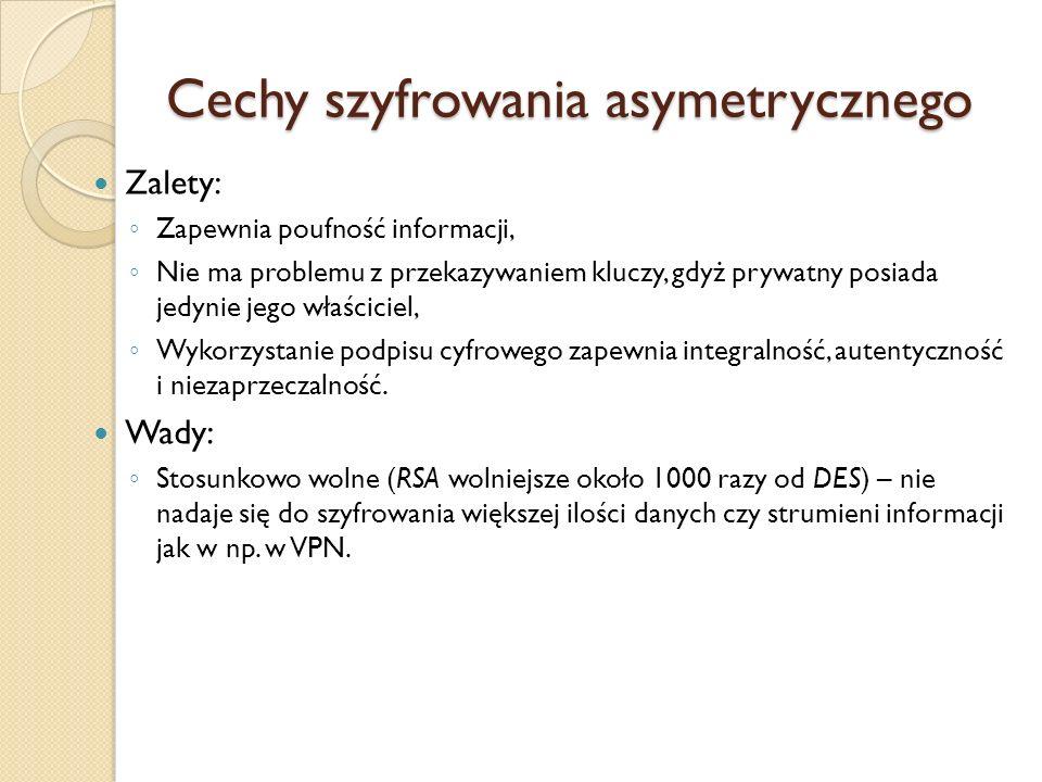 Cechy szyfrowania asymetrycznego
