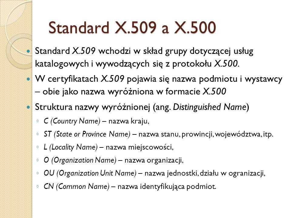 Standard X.509 a X.500Standard X.509 wchodzi w skład grupy dotyczącej usług katalogowych i wywodzących się z protokołu X.500.
