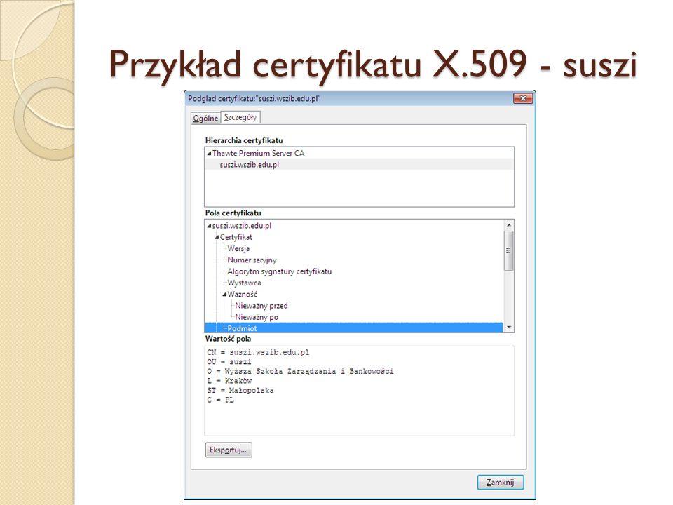 Przykład certyfikatu X.509 - suszi