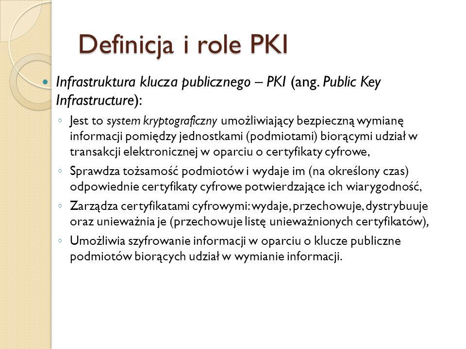 Definicja i role PKI Infrastruktura klucza publicznego – PKI (ang. Public Key Infrastructure):
