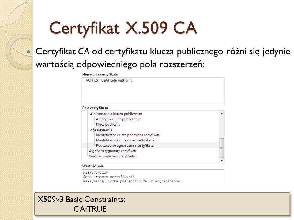 Certyfikat X.509 CA Certyfikat CA od certyfikatu klucza publicznego różni się jedynie wartością odpowiedniego pola rozszerzeń: