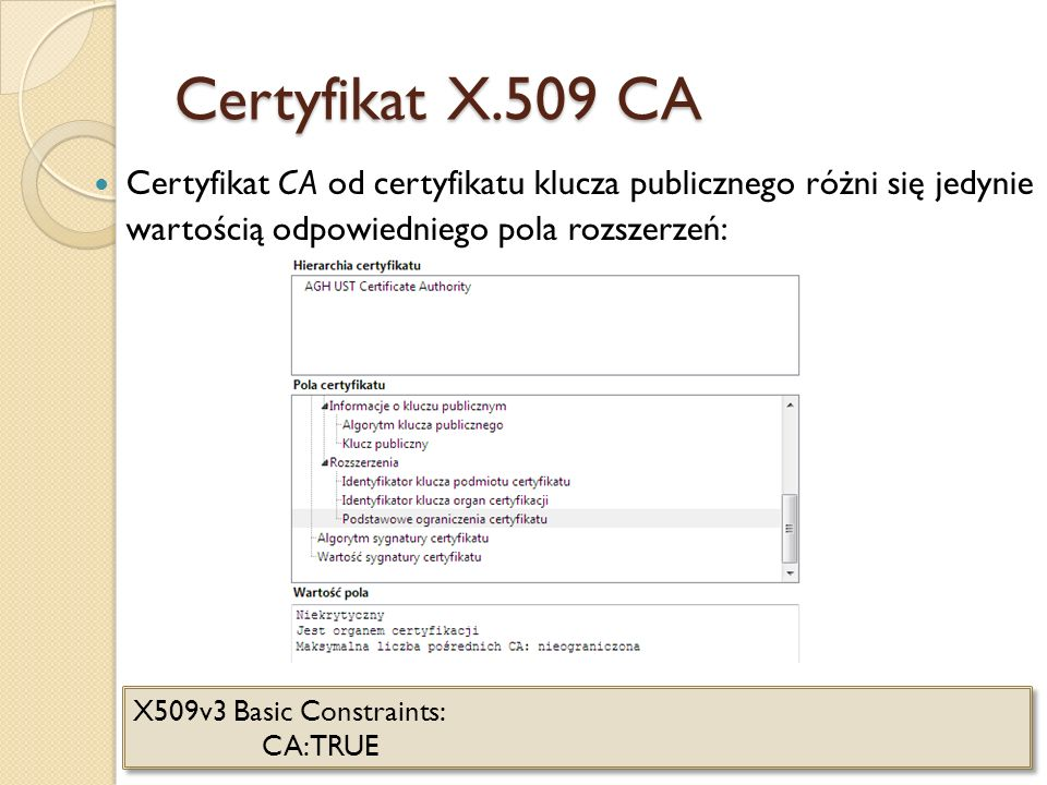 Certyfikat X.509 CACertyfikat CA od certyfikatu klucza publicznego różni się jedynie wartością odpowiedniego pola rozszerzeń: