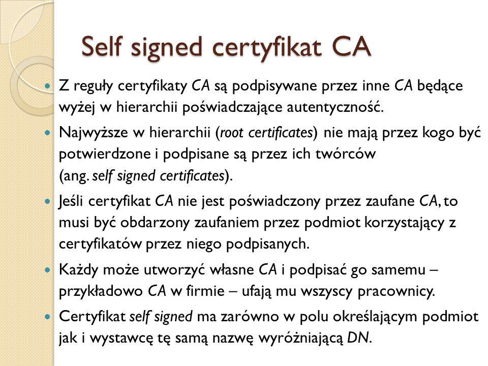 Self signed certyfikat CA