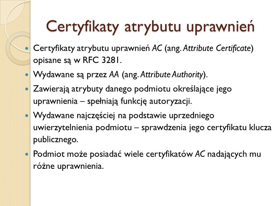 Certyfikaty atrybutu uprawnień