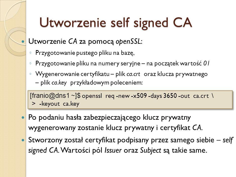 Utworzenie self signed CA