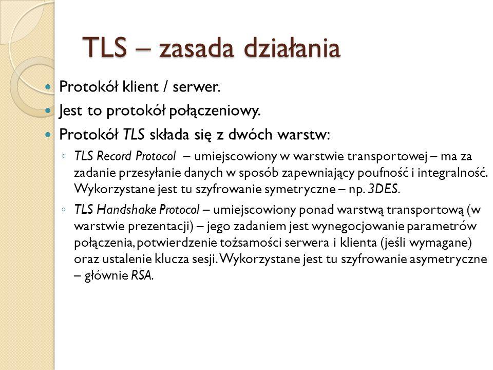 TLS – zasada działania Protokół klient / serwer.