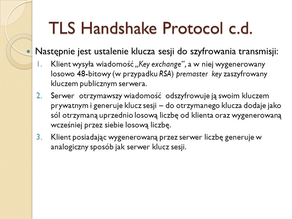TLS Handshake Protocol c.d.