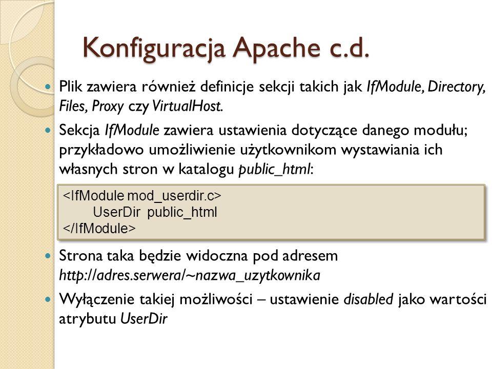 Konfiguracja Apache c.d.