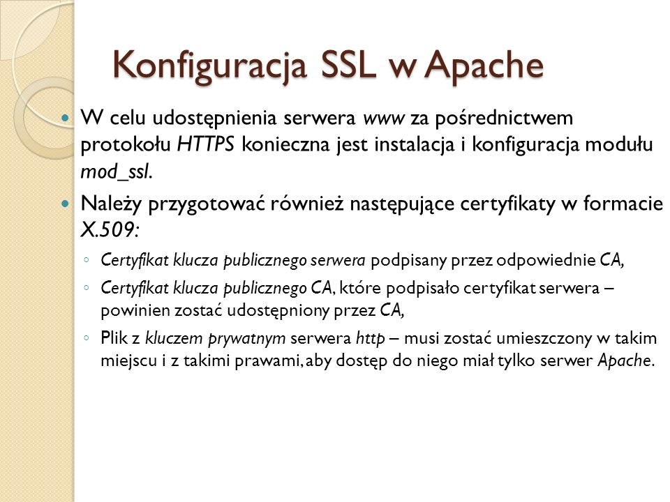 Konfiguracja SSL w Apache