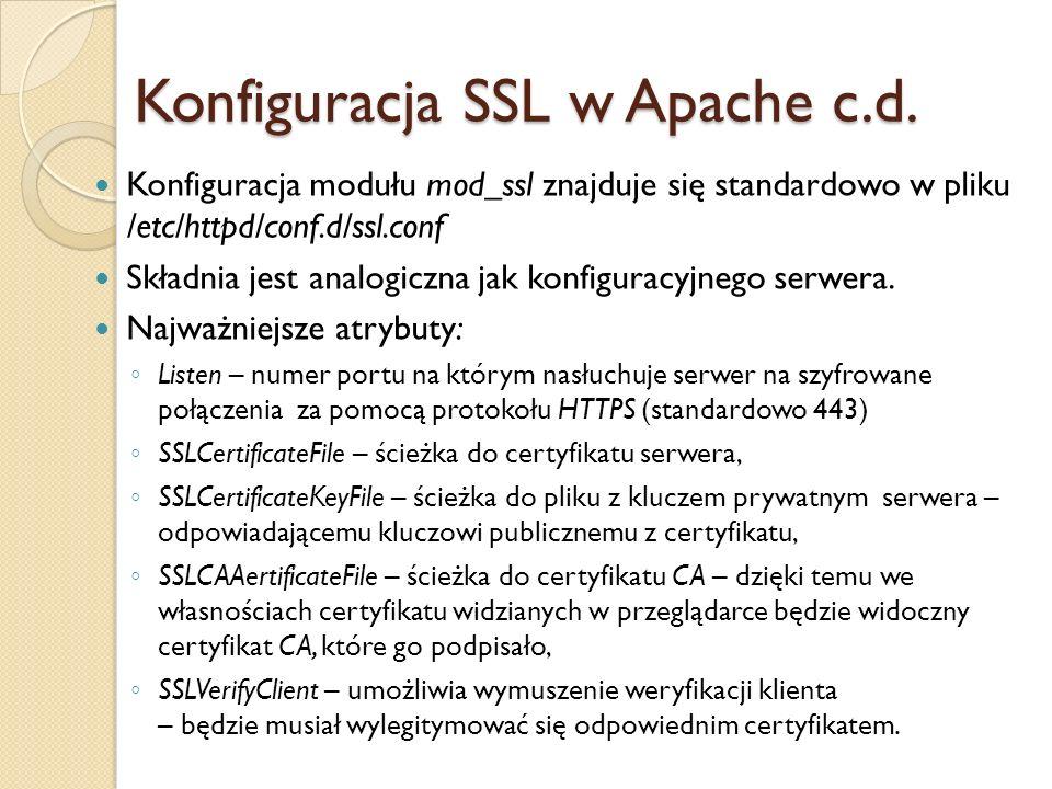 Konfiguracja SSL w Apache c.d.