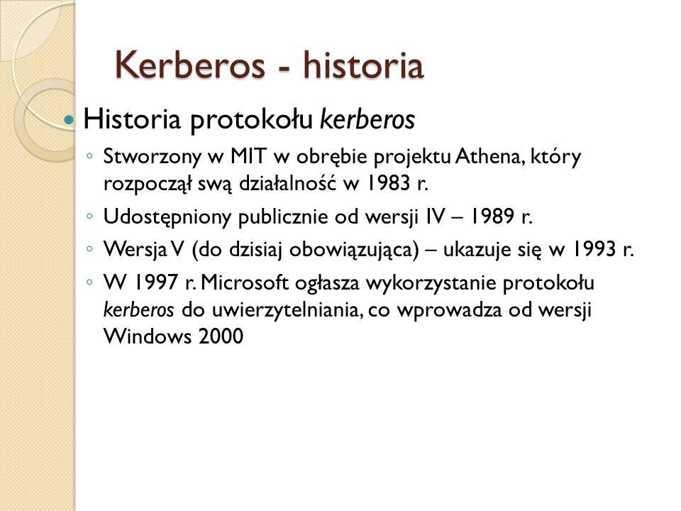 Kerberos - historia Historia protokołu kerberos