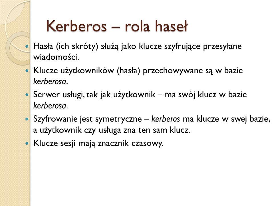 Kerberos – rola hasełHasła (ich skróty) służą jako klucze szyfrujące przesyłane wiadomości.